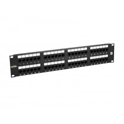 "Solarix 19"" Patch panel 48 x RJ45 CAT5E UTP 150 MHz černý 2U,  SX48-5E-UTP-BK"