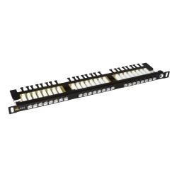 """Solarix 19"""" Patch panel 24xRJ45 CAT6 UTP s vyvaz.lištou černý 0,5U, SX24HD-6-UTP-BK"""
