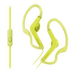 SONY headset do uší MDRAS210APY/ sluchátka drátová + mikrofon/ sportovní/ 3,5mm jack/ citlivost 104 dB/mW/ žlutá