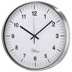 HAMA nástěnné hodiny AG-340/ průměr 34 cm/ řízené rádiovým signálem/ 1x AA baterie/ stříbrné