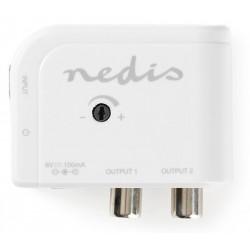 NEDIS zesilovač CATV/ maximální zesílení 15 dB/ 50–790 MHz/ 2 výstupy/ konektor IEC/ bílý