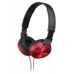 SONY sluchátka náhlavní MDRZX310R/ drátová/ 3,5mm jack/ citlivost 98 dB/mW/ červená