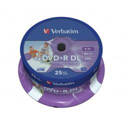 VERBATIM DVD+R DoubleLayer 8,5GB/ 8x/ Inkjet printable/ 25pack/ spindle
