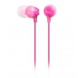 SONY headset do uší MDREX15APP/ sluchátka drátová + mikrofon/ 3,5mm jack/ citlivost 100 dB/mW/ růžová