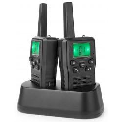 NEDIS vysílačka/ dosah 10 km/ 8 kanálů/ UHF/ VOX/ LED světlo/ nabíjecí základna/ micro USB/ 2 kusy/ černá