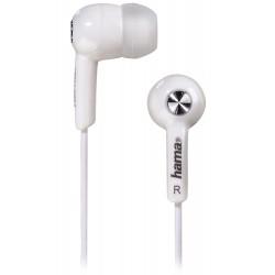 HAMA sluchátka Basic4Music/ drátová/ silikonové špunty/ 3,5 mm jack/ citlivost 96 dB/mW/ bílá