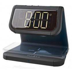 NEDIS budík/ bezdrátová nabíječka/ Qi certifikace/ vícebarevné noční svítidlo/ 5VDC/9VDC/ 1.0A/1.1A/ USB/ černý