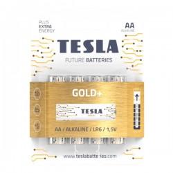 TESLA GOLD+ alkalická baterie AA (LR06, tužková, blister) 4 ks