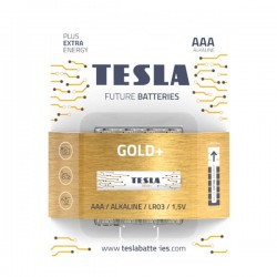 TESLA GOLD+ alkalická baterie AAA (LR03, mikrotužková, blister) 4 ks