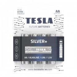 TESLA SILVER+ alkalická baterie AA (LR06, tužková, blister) 4 ks