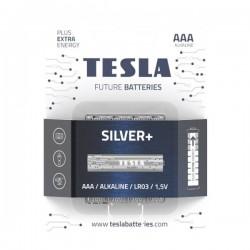 TESLA SILVER+ alkalická baterie AAA (LR03, mikrotužková, blister) 4 ks