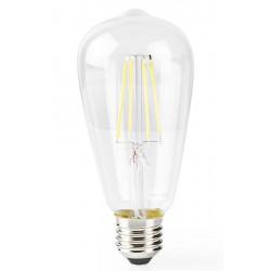NEDIS Wi-Fi chytrá LED žárovka s vláknem/ E27/ ST64/ 5W/ 230V/ 500lm/ 2700K/ teplá bílá/ stmívatelná/ čirá