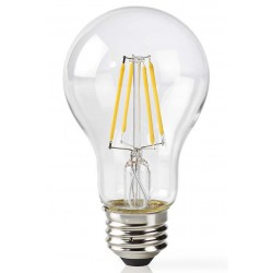 NEDIS Wi-Fi chytrá LED žárovka s vláknem/ E27/ A60/ 5W/ 230V/ 500lm/ 2700K/ teplá bílá/ stmívatelná/ čirá