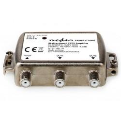 NEDIS zesilovač CATV/ maximální zesílení 12dB/ 85-1218 MHz/ 2 výstupy/ zpětný kanál - 4,5 dB/ 5-65 MHz/ konektor F/ šedý