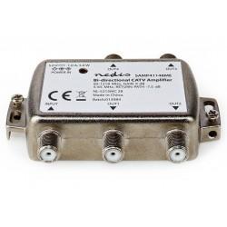 NEDIS zesilovač CATV/ maximální zesílení 9 dB/ 85-1218 MHz/ 4 výstupy/ zpětný kanál - 7,5 dB/ 5-65 MHz/ konektor F/ šedý
