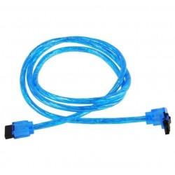 AKASA kabel 7pin SATA III(rovný) na 7pin SATA III (pravoúhlý s pojistkou) / AK-CBSA01-10BV / modrý / 100 cm