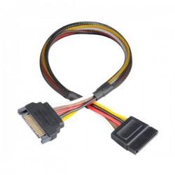 AKASA prodlužovací kabel 15pin SATA(M) na 15pin SATA(F) / AK-CBPW04-30 / černý / 30cm