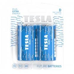 TESLA BLUE+ Zinc Carbon baterie D (R20, velký monočlánek, blister) 2 ks