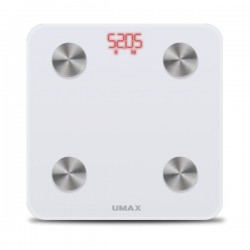 UMAX chytrá váha Smart Scale US20M/ 0,2 – 150 kg/ Bluetooth 4.0/ 6 tělesných parametrů/ čeština/ bílá