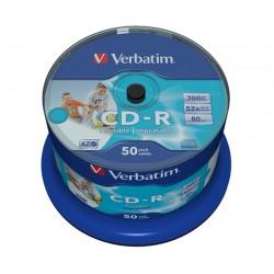 VERBATIM CD-R80 700MB/ 52x/ Inkjet printable Non ID/ 50pack/ spindle