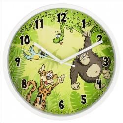 HAMA dětské nástěnné hodiny Jungle/ průměr 22,5 cm/ tichý chod/ 1x AA baterie/ bílé (jungle)