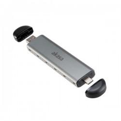 AKASA hliníkové pouzdro na M.2 / NVMe SSD / AK-ENU3M2-04 / USB 3.1 Type-C / USB 3.1 Type-A / stříbrné