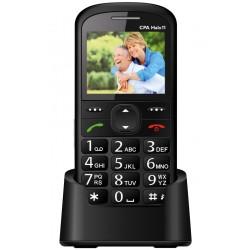 """CPA HALO 11 černý   nabíjecí stojánek/ pro seniory/ 2,4"""" barevný display/ SOS tlačítko/ vestavěná svítilna/ FM rádio"""