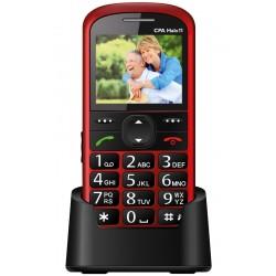 """CPA HALO 11 červený   nabíjecí stojánek/ pro seniory/ 2,4"""" barevný display/ SOS tlačítko/ vestavěná svítilna/ FM rádio"""