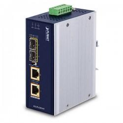 PLANET IGUP-2205AT PoE++ konvertor 802.3bt, 2x 1000Base-T, 2x SFP 100/1000Base-X, dual power 12-56VDC, -40 až 75st.